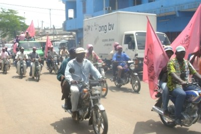 Opposition supporters campaigning in Lome during the 2007 legislative elections.