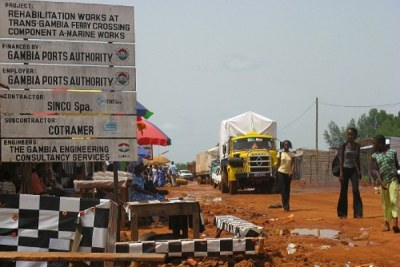 Border crossing: In June, a record two-tonne stash of cocaine was found in the Gambia (file photo).
