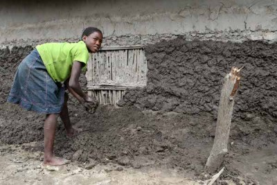 Inonga Mubita (14) uses clay and mud to rebuild the walls of her family's flood damaged hut. Effects of the seasonal flooding of the Zambezi River in Zambia's Western Province.