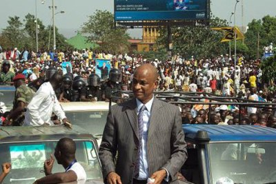 Presidential candidate, Cellou Dalein Diallo, at a campaign rally in Conakry.