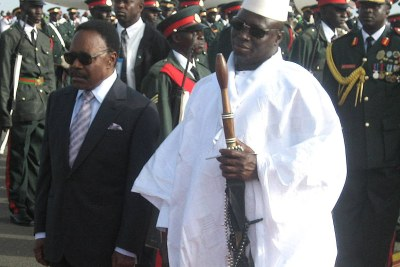 Gambian President Yahya Jammeh, right, with the late President Omar Bongo of Gabon.