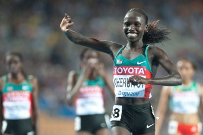 Vivian Cheruiyot during the 2011 World Athletics Championships in Daegu.