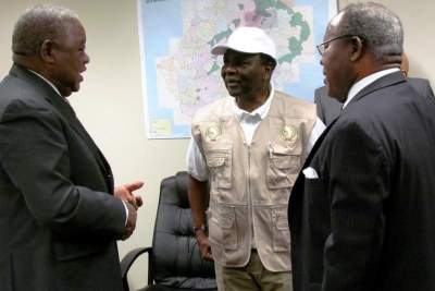 Among observers of the Lesotho elections were, from left, former heads of state Rupiah Banda of Zambia, Yakubu Gowon of Nigeria and Bakili Muluzi of Malawi.