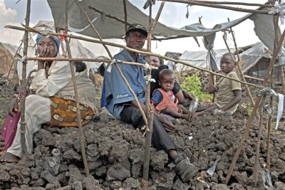 Displaced families living in Mugunga camp, in Goma.