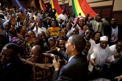 U.S. President Barack Obama on his visit to Ghana in 2012 (file photo).