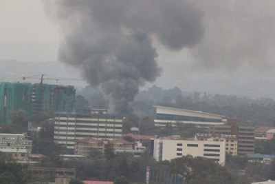Rising smoke from the Westgate mall in Nairobi which was attacked by terrorists (file photo).