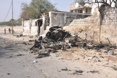 Wreckage of one of the suicide car bombs used to attack the presidential palace in Mogadishu, Somalia's capital (file photo).