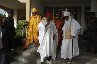 Nigeria's former Central Bank governor Sanusi Lamido Sanusi , on the right, has emerged as the 14th Emir of Kano following the installation of a Fulani Dynasty by the Othman Dan Fodio Jihad.