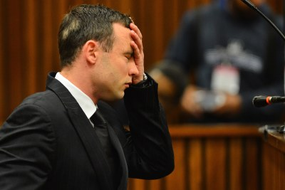 Star sprinter Oscar Pistorius is seen at the High Court in Pretoria.