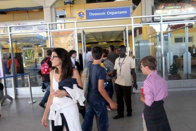 Air France passengers travelling from Mauritius to France after their forced landing in Mombasa.