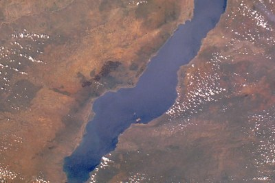 Lake Malawi, also known as Lake Nyasa in Tanzania and Lago Niassa in Mozambique's  view from orbit. The lake is at the centre of a fierce dispute between Malawi and Tanzania (file photo).