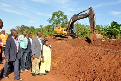 MPs inspect the Mukono-Katosi road construction works (file photo)