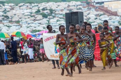 Young Burundian refugees showcase their cultural dances at a festive season celebrations at Mahama camp.