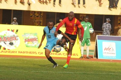 Cranes striker Massa (right) in action against Botswana (file photo).