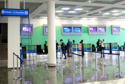 Check-in counters at Kigali International Airport.
