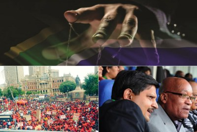 Top: Title image of the 'State of Capture' report. Bottom-left: EFF supporters protest in Church Square, Pretoria. Bottom-right: File photo of Atul Gupta and President Jacob Zuma. (file photo).