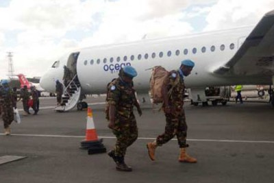 The Kenya Defence Force soldiers pulled out of the South Sudan peacekeeping mission arrive at the Jomo Kenyatta International Airport in Nairobi on November 9, 2016.