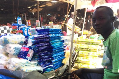 Santino Sworo, a 28-year-old South Sudanese trader, has sold household goods at the Nyakuron market in Juba for two years.