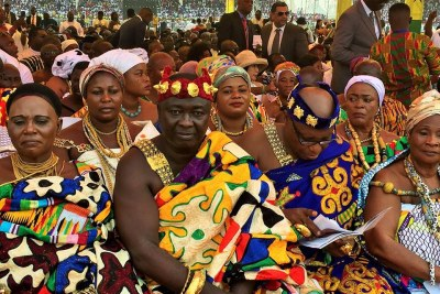 Ghanaians don the country's traditional dress at the inauguration of President Nana Akufo-Addo.