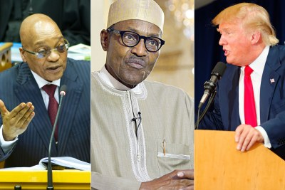 From left, Presidents Jacob Zuma, Muhammadu Buhari and Donald Trump.