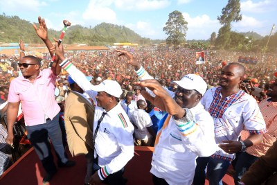 Kenya's new National Super Alliance (NASA) led by Raila Odinga held a well-attended rally in Meru County (file photo).