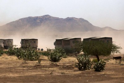 A convoy of WFP trucks in North Darfur (file photo).