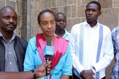Kenya Medical Association national chairperson Jacqueline Kitulu addresses journalists outside All Saints' Cathedral Church in Nairobi on March 12, 2017.