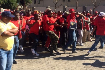 South African Federation of Trade Unions SAFTU -  Workers danced and sang freedom songs outside the congress hall.