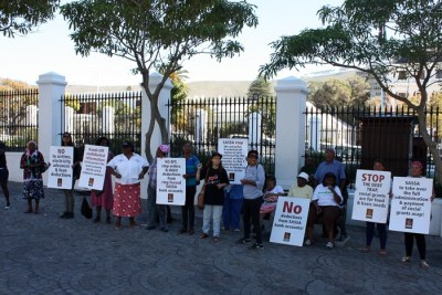 Protesters outside parliament in Cape Town.
