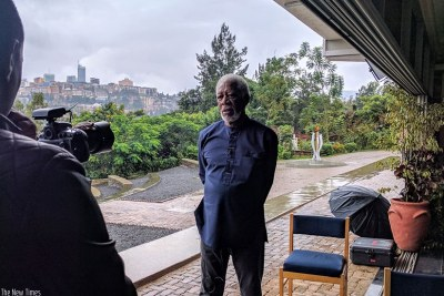Morgan Freeman spent half a day at Kigali Genocide Memorial filming for a new documentary.