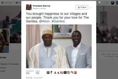 Adama Barrow, President of the Republic of The Gambia thanks Akon for lighting the country. You brought happiness to our villages and our people. Thank you for your love for The Gambia, @Akon. #Gambia