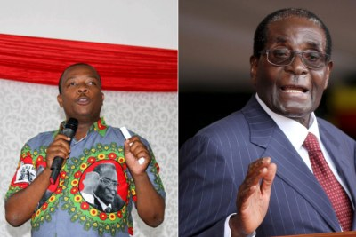 Zanu-PF youth leader Kudzai Chipanga and President Robert Mugabe (file photo).