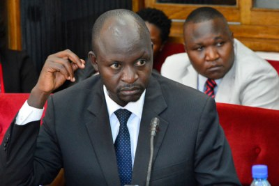 A file photo of Mr Paul Kihika, the former UBC managing director while appearing before the Parliamentary Committee on Statutory Authorities and State Enterprises.