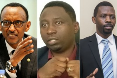(from left) President Paul Kagame, Rwanda Patriotic Front (RPF-Inkotanyi), Frank Habineza and Democratic Green Party of Rwanda, and Philippe Mpayima.