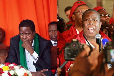 Zambian President Edgar Lungu and Economic Freedom Fighters leader Julius Malema (file photo).