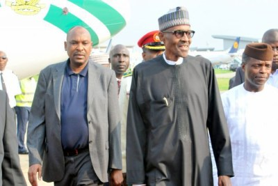 President Muhammadu Buhari arriving at the Abuja airport.