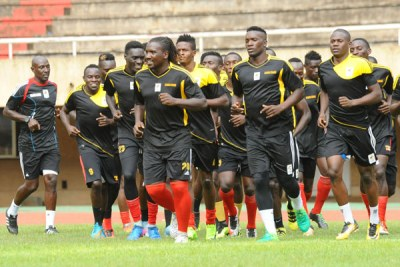Cranes players train ahead of the Fifa World Cup qualifier against Egypt this week.