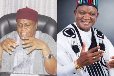 Darius Ishaku, Governor of Taraba State, left, Samuel Ortom, Governor of Benue State, right.