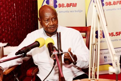 President Museveni on radio on Sunday night in Masaka.