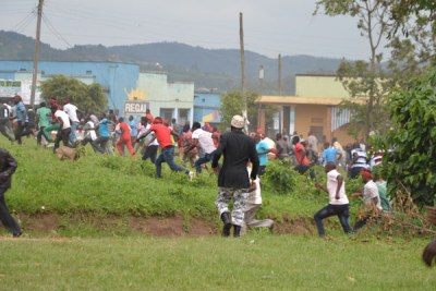 Opposition supporters in Rukungiri engage police in running battles.