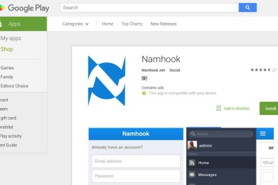 Screenshot of the Namibian social networking platform Namhook on the Google Play Store.
