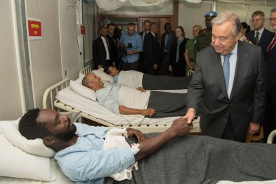UN Secretary Genera  António Guterres visits the wounded in Central African Republic.