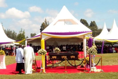 The remains of Eldoret Catholic Diocese Bishop Cornelius Korir during the funeral mass at the Eldoret Sports Club on Saturday November 11, 2017.