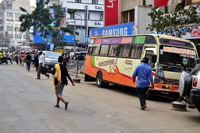 Matatus parked on Tom Mboya Street in the city centre.
