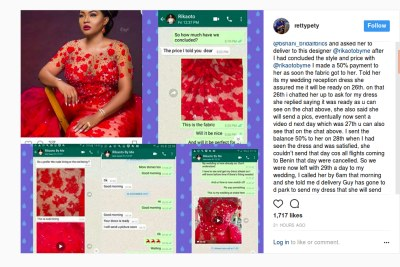 Benin-based bride simply identified as rettypety on Instagram laid claims to the outfit saying it is originally hers.