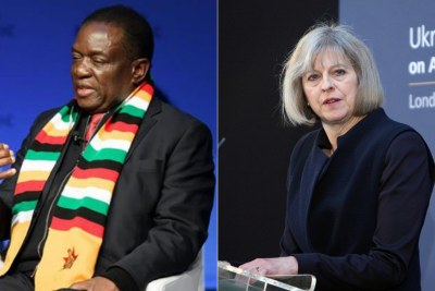 Zimbabwe President Emmerson Mnangagwa and British Prime Minister Theresa May (file photo).