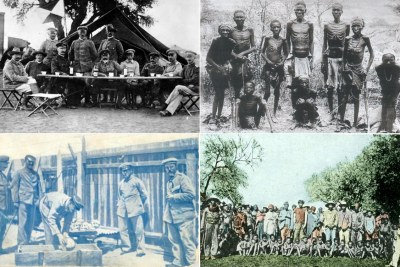 Left: German soldiers Right: Namibian prisoners chained (file photo).