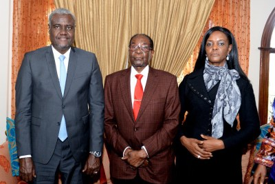 Chairperson of the AU Commission Moussa Faki Mahamat, former president Robert Mugabe and former First Lady Grace Mugabe.