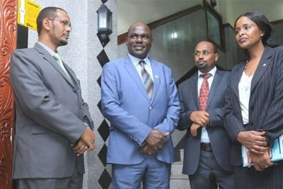 From left: IEBC commissioner Yakub Guliye, Chairman Wafula Chebukati, commissioner Boya Molu, and vice chair Consolata Nkatha Bucha Maina when they appeared before select committees of both Senate and National Assembly on the elections law amendments proceedings at Nairobi County Hall on October 5, 2017.
