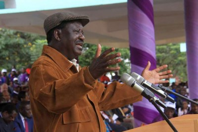 Raila Odinga addresses a gathering at Uhuru Park, Nairobi, during Labour Day celebrations on May 1, 2018.